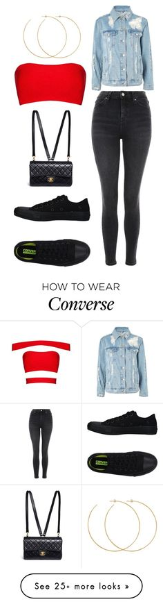 """red"" by eboony800 on Polyvore featuring Topshop, Converse, Allison Bryan and Chanel"