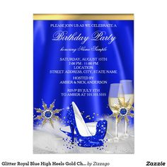 Glitter Royal Blue High Heels Gold Champagne Party 4.5x6.25 Paper Invitation Card