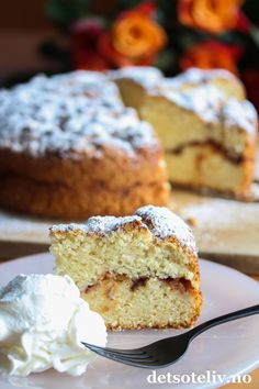 Eplekake uten egg (kefirkake) French Toast, Muffin, Eggs, Cakes, Breakfast, Food, Meal, Egg, Cake