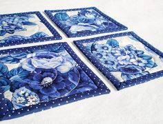 Items similar to Fabric Coasters - Quilted Blue Roses, Delft Flowers, 4 Reversible Mini Quilts Candle Mat Set, Blue and White China Porcelain, Mug Rug Set on Etsy Quilted Coasters, Fabric Coasters, Blue Quilts, Mini Quilts, Big Candles, Christmas Coasters, Blue And White China, Blue China, Shabby Chic Cottage