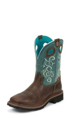 WOMEN'S SADDLEBACK BROWN 3R™ WORK WATERPROOF COMPOSITION TOE WORK BOOTS WITH TURQUOISE TOPS