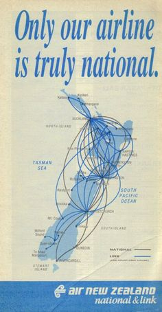 Air New Zealand 1991 timetable domestic route map