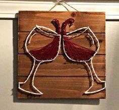 Wine String Art / Red Wine Art / Wine Wall Art by FWMadeCrafts String Wall Art, Red Wall Art, Wine Wall Art, Nail String, Wine Art, String Art Patterns, Fall Wine Glasses, Wine Tattoo, Wine Presents