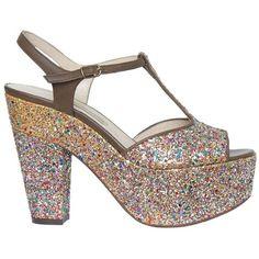 L'AUTRE CHOSE Glitter Sandal With Plateau ($135) ❤ liked on Polyvore featuring shoes, sandals, l autre chose shoes, brown leather shoes, real leather shoes, brown shoes and brown sandals