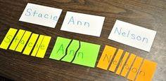 Preschool Basics: Name on a Notecard Activity - Kids Activities Kindergarten Names, Preschool Names, Preschool Boards, Name Activities, Alphabet Activities, Toddler Activities, Kindergarten Classroom, Writing Activities, Early Learning
