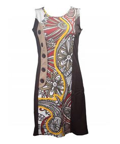 Loving this Beige & Yellow Ophira Abstract Panel Sleeveless Dress on #zulily! #zulilyfinds
