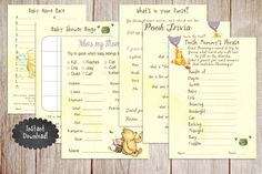 Printable Winnie the Pooh Baby Shower Game by PoppinPaperParties