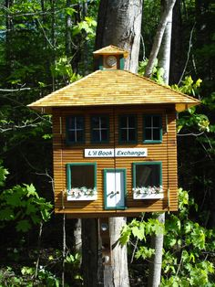 Woodland Dr. L'il Book Exchange! Little Free Libraries, Little Library, Free Library, Library Ideas, Free Boxes, Book Making, Bird Cage, Sorority, Woodland