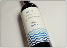 Modern Chevron Bridesmaid Wedding Wine Label- Will you be my Bridesmaid- Personalized Label on Etsy, $6.00