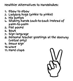 "Worried about germs? Here's a list of great ""no touch"" alternatives to handshake songs- use them for your for your Morning Meetings!"