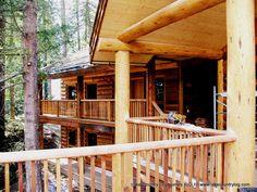 www.lakecountrylog.com  Western Red Cedar Post & Beam Log Home with handcrafted Log Siding Cedar Posts, Log Siding, Log Cabin Homes, Post And Beam, Western Red Cedar, Douglas Fir, Railings, Joinery, Stairs