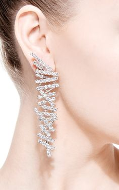Bakkheia 18K White Gold and Diamond Drop Earrings by Wilfredo Rosado - Moda Operandi