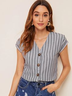 Shop Rolled Cuff Button Up Striped Shirt at ROMWE, discover more fashion styles online. Dressy Tops, Blouse Outfit, Summer Shirts, Shirt Blouses, Chiffon Blouses, Types Of Sleeves, Shirt Sleeves, Blouse Designs, Blouses For Women