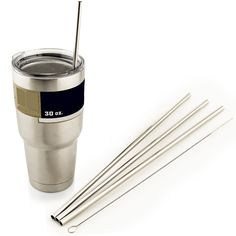 4 LONG Stainless Steel Straight Straws fits 30 oz Yeti Tumbler Rambler Cups BACKORDER