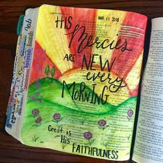 This scripture has been on my mind daily for the last week!  So it was fitting for me to do a bible journaling page with it! Thank you Lord that Your mercies are new everyday!!! #biblejournaling #biblejournalingdaily #biblejournalingcommunity #biblejournalingbytammi #illustratedfaith #journalingbible http://ift.tt/1KAavV3