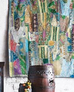 Beautiful tapestry made from scraps of vintage sari's. I've enough beautiful bits for half of one... Almost.