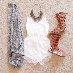 cute summer outfit | romper | gladiator sandals