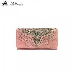 Pink - Tiered Floral Design Rhinestone Montana West Wallet