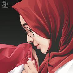 Cute Drawings Of Love, Hijab Drawing, Love Cartoon Couple, Anime Muslim, Hijab Cartoon, Islamic Girl, Graphic, Cartoon Art, Kawaii Anime