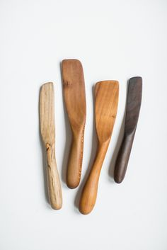 "Sanded silky smooth, these spreaders are currently coated with a natural beeswax finish, but it is recommended that you dip them liberally in homemade raspberry jam and wipe them clean on buttered toast periodically to maintain their patina.Sizes range from 7.5"" - 10.5""1 - Spalted apple spreader2 - Sycamore Saute utensil3 - Cherry Saute Spatula4 - Claro Walnut Spreader"