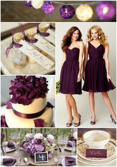 Eggplant + Lavender Wedding Palette Inspiration | Kennedy Blue Chiffon Bridesmaid Dresses in Eggplant