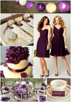 Eggplant + Lavender Wedding Palette Inspiration | Kennedy Blue Chiffon Bridesmaid Dresses in Eggplant