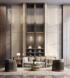 Showroom Interior Design, Lobby Interior, Luxury Interior, Interior Architecture, Villas, High Ceiling Living Room, Hotel Lobby Design, Niche Design, Interior Design Presentation
