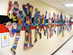 Field Elementary Art Blog!: I Ain't Gonna Paint No More Silhouettes... Love the display too