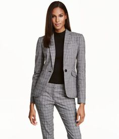 Gray& Fitted blazer in slightly stretchy woven fabric. Lapels, single button at front, one chest pocket, and welt front pockets with flap. Vent at New Outfits, Summer Outfits, Blazers, Business Dresses, H&m Online, Clothing Items, Woven Fabric, Fashion Online, Kids Fashion