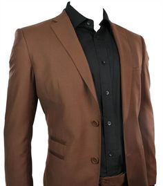 Mens Slim Fit Suit Tan Brown 2 Button Office Party or Wedding Suit Stitch Trim | eBay