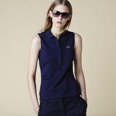 Women Sleeveless Polo Navy Blue