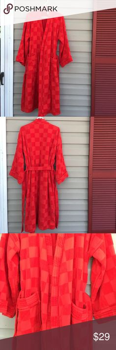 Katja of Sweden red bathrobe Heavyweight spa type 100% heavyweight organic cotton terry bathrobe. 2 front pockets,  ties in front. Square block design,no stains or holes Katja of Sweden Intimates & Sleepwear Robes