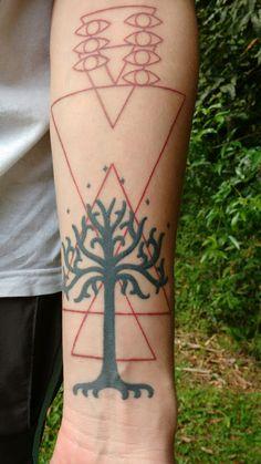 Evangelion and Lord Of The Rings tattoo #evas #LOR #lilithmask #evangellion #lordoftherings #nimloth #tattoos #lortattoos