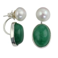 NOVICA Green Quartz White Cultured Freshwater Pearl Sterling Drop Earrings 'Moonlit Iridescence'. An original NOVICA fair trade product in association with National Geographic. Includes an official NOVICA Story Card certifying quality & authenticity. NOVICA works with Matta to craft this item. Includes an original NOVICA jewelry pouch to keep for yourself or give as a gift. A keepsake treasure designed to be loved for years to come.