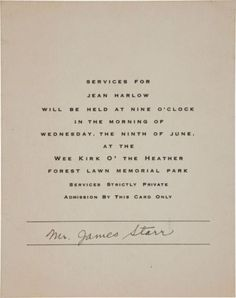 """""""A Jean Harlow Memorial Service Invitation, 1937 at the famous Forest Lawn Memorial Park in Los Angeles"""" Jean Harlow, Forest Lawn Memorial Park, Look At The Moon, Baby Jeans, Hollywood Cinema, Joan Crawford, Funeral, Movie Stars, Invitation"""