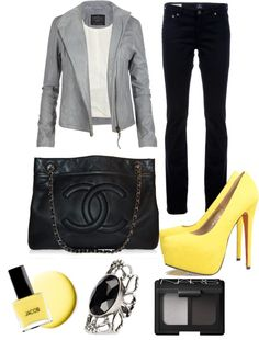 Yellow and Gray!, created by hikingblondie on Polyvore