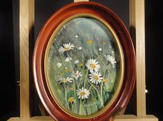 Bernard Gerstner ~ Original wild daisies floral watercolor painting in an oval frame. Signed and framed. From VintageArtCafe Floral Watercolor, Watercolor Paintings, Original Paintings, Oval Frame, American Artists, Daisies, Impressionist, Flower Art, Wild Flowers