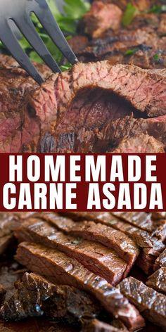 Carne Asada Recipes Easy, Best Carne Asada Recipe, Authentic Carne Asada Recipe, Beef Recipes For Dinner, Grilling Recipes, Cooking Recipes, Skirt Steak Recipes, Grilled Steak Recipes, Italian Recipes
