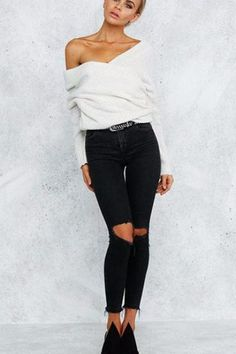 Off Shoulder Baggy Knitted Sweater