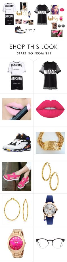 """""""Bright Pink Lips """" by foreignasf162000 ❤ liked on Polyvore featuring beauty, Moschino, Chicnova Fashion, Fiebiger, Lime Crime, Jordan Brand, Wifky, Bling Jewelry, Vivienne Westwood and Spitfire"""
