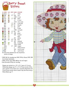 Strawberry Shortcake For Berry Sweet Girls Book: Berry Sweet Sisters Cross Stitch For Kids, Cross Stitch Baby, Counted Cross Stitch Patterns, Cross Stitch Designs, Mickey Mouse, Stitch Cartoon, Rainbow Brite, Sewing Box, Sewing Ideas