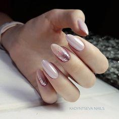 New nails art facile fete 17 Ideas Pink Manicure, Pink Nails, Glitter Nails, My Nails, Fall Manicure, Polish Nails, Oval Nails, Round Nails, Pink Glitter