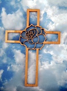 Large Rose Wooden Wall Cross by TheArtfulTree on Etsy