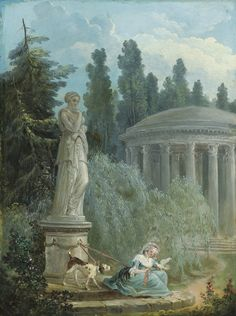 HUBERT ROBERT (PARIS 1733 - 1801) JEUNE FEMME PRÈS DU TEMPLE DE L'AMOUR Signé et daté en bas au centre H. ROBERT./ 1785 Huile sur panneau, 32,5 x 25 cm Lot 48 Est. 70 000 - 90 000
