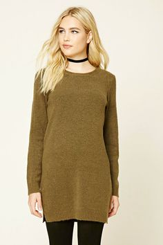 Marled Knit Sweater Dress