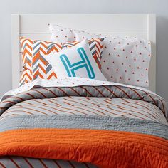 Little Prints Kids Bedding (Orange) - E's room, like the pop of orange.    Too much?    Actually like the blue chevron Land of Nod rug a lot, but will chevron on the rug and then patterns on the bedding be too much?