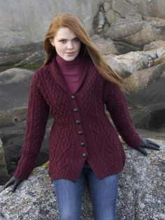 Aran Sweater Market - the home of Irish Aran sweaters. The Aran Sweater, also known as a Fisherman Irish Sweater, the famous original since quality authentic Aran sweater & Irish sweaters from the Aran Islands, Ireland. Cable Knit Cardigan, Cable Knit Sweaters, Irish Sweaters, Brown Cardigan, Cardigan Outfits, Winter Sweaters, Cardigans For Women, Women's Cardigans, Knitwear
