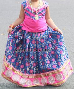 Blue and Pink Benaras Lehenga - Indian Dresses