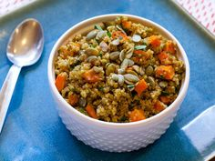 curried quinoa salad with butternut squash, roasted chickpeas, and pumpkin seeds
