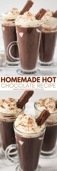 This rich and decadent homemade hot chocolate recipe is filled with flavour. This recipe includes marshmallows, chocolate chips, milk and whipped cream. #hotchocolatedrink #hotchocolate #cocoa #marshmallows #whippedcream Mini Desserts, Dessert Recipes, Drink Recipes, Best Hot Chocolate Recipes, Homemade Hot Chocolate, Slow Cooker Desserts, Winter Recipes, Holiday Recipes, Chocolate Chips